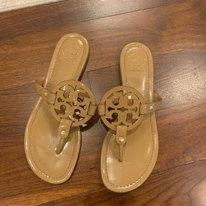 Tory Burch miller sandals in sand patent leather